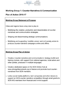 Working Group 1: Plan of Action