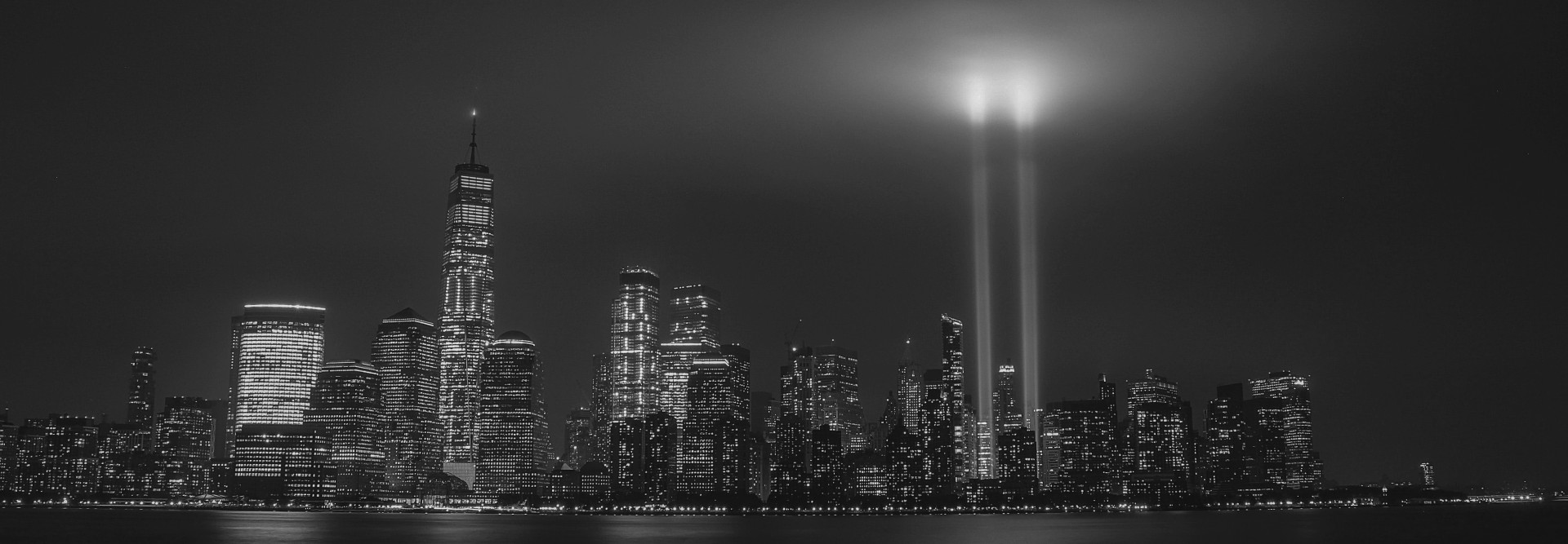 The Tribute in Light over the location of the Twin Trade Towers in NY